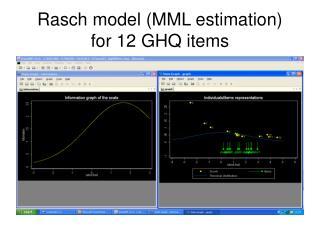 Rasch model (MML estimation) for 12 GHQ items