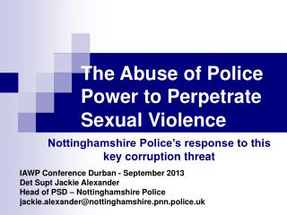 The Abuse of Police Power to Perpetrate Sexual Violence