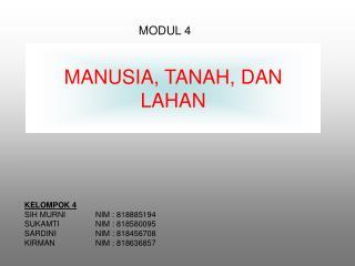 MANUSIA, TANAH ,  DAN LAHAN