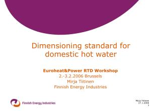 Dimensioning standard for domestic hot water