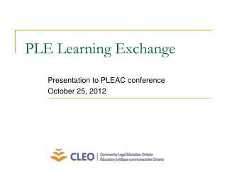 PLE Learning Exchange
