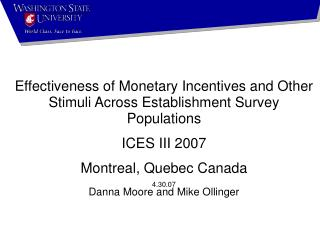 Effectiveness of Monetary Incentives and Other Stimuli Across Establishment Survey Populations