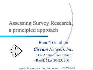 Assessing Survey Research, a principled approach