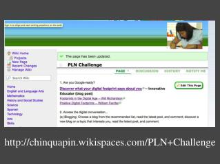 chinquapin.wikispaces/PLN+Challenge
