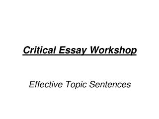 Critical Essay Workshop