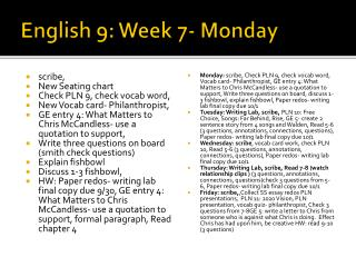English 9: Week 7- Monday