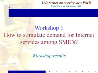 Workshop 1 How to stimulate demand for Internet services among SME's? Workshop results
