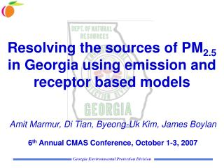 Resolving the sources of PM 2.5  in Georgia using emission and receptor based models