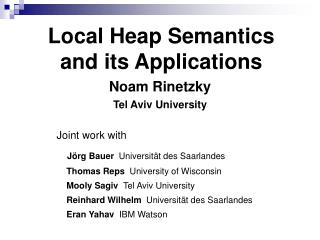 Local Heap Semantics and its Applications