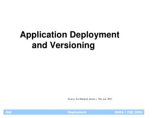 Application Deployment         and Versioning