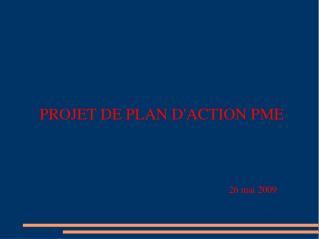 PROJET DE PLAN D'ACTION PME 26 mai 2009