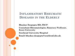Inflammatory Rheumatic Diseases in the Elderly