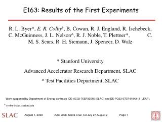 E163: Results of the First Experiments