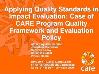 CARE International Program Quality Framework pqdlre