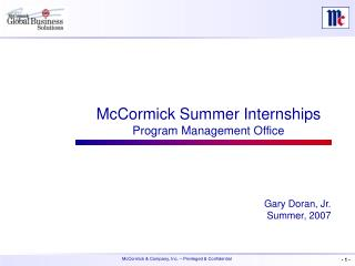 McCormick Summer Internships Program Management Office