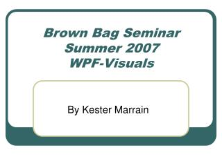 Brown Bag Seminar Summer 2007 WPF-Visuals