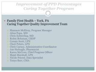 Improvement of PPD Percentages Caring Together Program