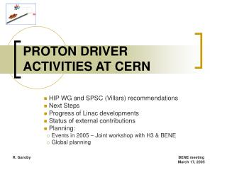 PROTON DRIVER ACTIVITIES AT CERN