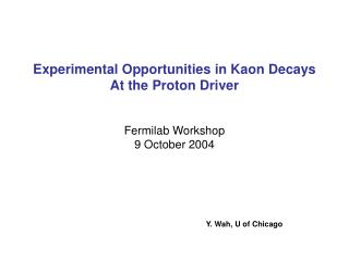 Experimental Opportunities in Kaon Decays  At the Proton Driver Fermilab Workshop  9 October 2004