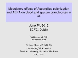 Modulatory effects of Aspergillus colonization and ABPA on blood and sputum granulocytes in CF