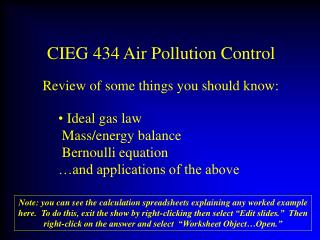 CIEG 434 Air Pollution Control