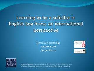 Learning to be a solicitor in  English law firms: an international perspective