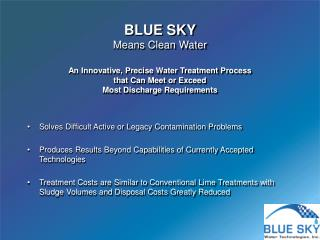 An Innovative, Precise Water Treatment Process  that Can Meet or Exceed