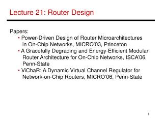 Lecture 21: Router Design