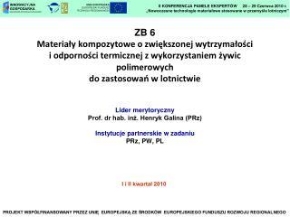 Lider merytoryczny Prof. dr hab. inż. Henryk Galina (PRz) Instytucje partnerskie w zadaniu