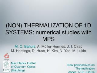 (NON) THERMALIZATION OF 1D SYSTEMS: numerical studies with MPS
