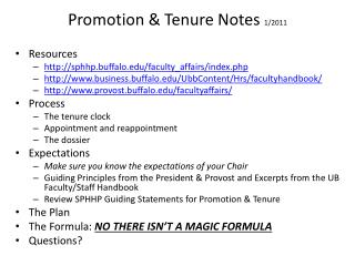 Promotion & Tenure Notes  1/2011