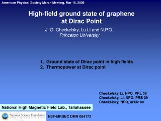 High-field ground state of graphene  at Dirac Point