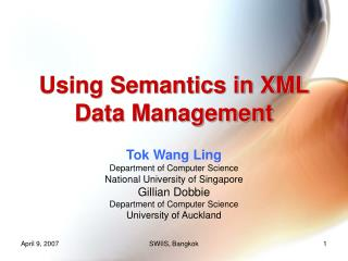 Using Semantics in XML Data Management