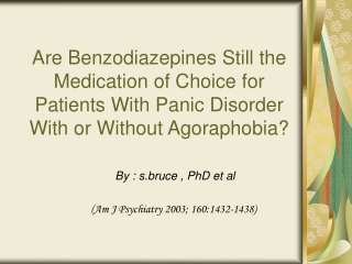 WHAT TO DO ABOUT THOSE BENZOS
