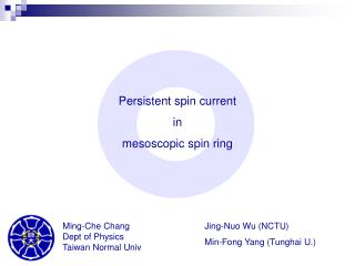 Persistent spin current  in  mesoscopic spin ring