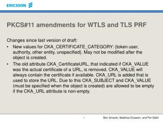 PKCS#11 amendments for WTLS and TLS PRF