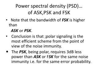 Power spectral density (PSD)� of ASK,PSK and FSK