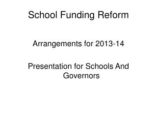 School Funding Reform