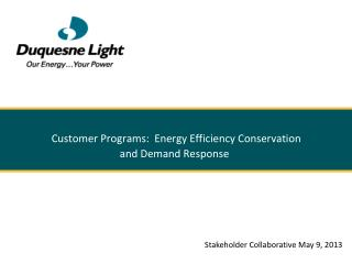 Customer Programs:  Energy Efficiency Conservation  and Demand Response