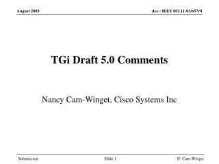 TGi Draft 5.0 Comments