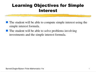 Learning Objectives for Simple Interest