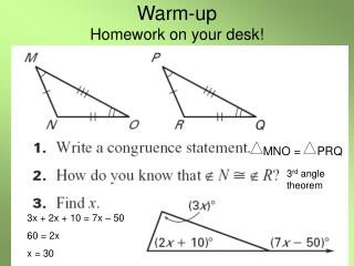 Warm-up Homework on your desk!