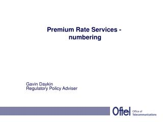 Premium Rate Services -  numbering