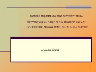 Avv. Andrea Stefanelli