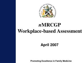 n MRCGP Workplace-based Assessment