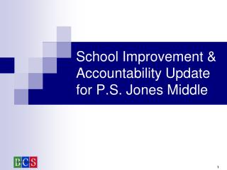School Improvement & Accountability Update for P.S. Jones Middle