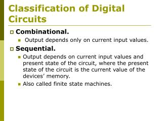 Classification of Digital Circuits