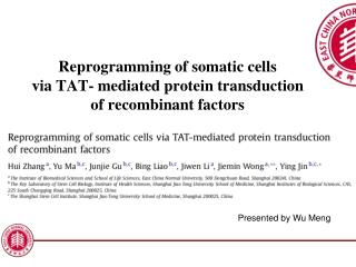 Reprogramming of somatic cells via TAT- mediated protein transduction  of recombinant factors