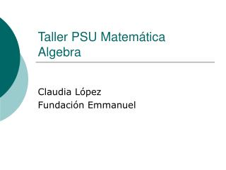 Taller PSU Matemática Algebra