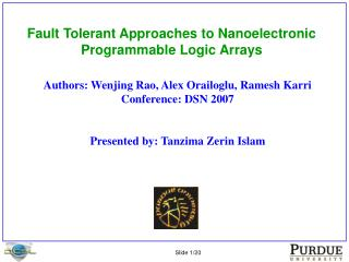 Fault Tolerant Approaches to Nanoelectronic Programmable Logic Arrays